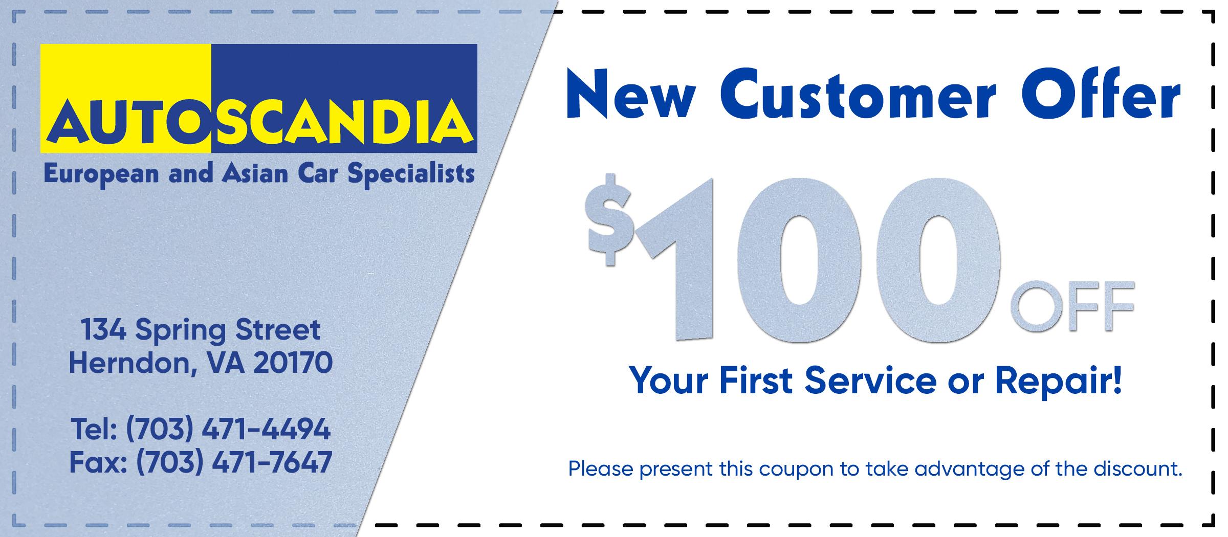 AutoScandia New Customer Offer Coupon Herndon Virginia